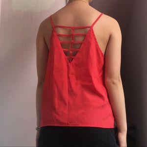 Bright red pink Tank Top with open back pattern